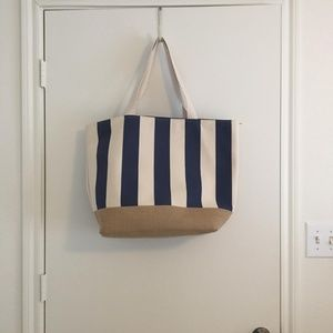Large Striped Canvas Beach Tote Navy and Cream